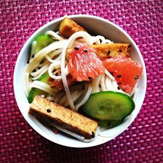 Rice Noodle Salad With Grapefruit-Sriracha Vinaigrette | Post Punk Kitchen | Vegan Baking & Vegan Cooking