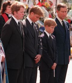 Princes William, Harry and ex-hubby, Prince Charles at Diana's funeral