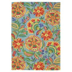 Sarasa Rug in Pool (floral Pattern, Hooked Rugs) | Handmade Area Rugs from Company C