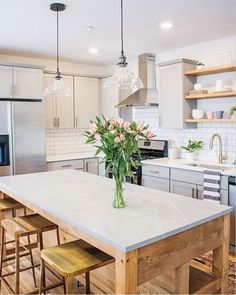 """We need an island like this  1,175 Likes, 16 Comments - Susanna.T (@coastalhamptonstyle) on Instagram: """"How warm and welcoming does this kitchen look?! Loving that custom made Island & the soft gray…"""""""