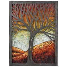 Whitney Autumn Tree High Rust Metal Cut-Out Wall Art - ( Idea to cut canvas tree, and paint background on separate board and attach from the back) Metal Tree Wall Art, Metal Wall Decor, Metal Art, Cut Out Canvas, Canvas Art, Cut Out Art, Painting Shower, Autumn Scenes, Art Textile