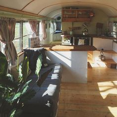 Beautiful Interior Bus Camper Conversion for Tour https://www.decomagz.com/2018/01/24/beautiful-interior-bus-camper-conversion-tour/ Apartment Entry, Bus Living, School Bus Conversion, Camper Interior, Bus Camper, Campers, Conversation, Building Plans, Entry Organization