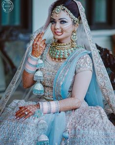 20 Quirkiest Wedding Trends For 2019 That Will Rock Indian Weddings! - 20 Quirkiest Wedding Trends For 2019 That Will Rock Indian Weddings! Indian Bridal Outfits, Indian Bridal Fashion, Indian Bridal Lehenga, Indian Bridal Wear, Blue Bridal, Bridal Style, Bride Indian, Indian Wedding Jewelry, Asian Bridal