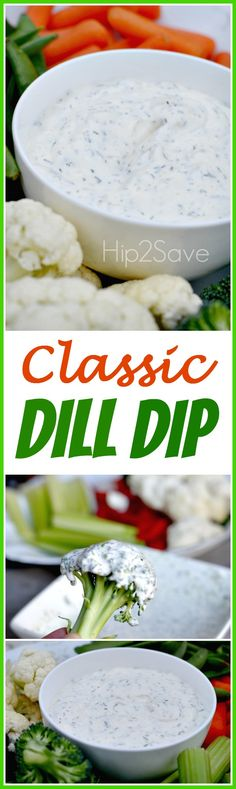 Classic Dill Dip (Easy Appetizer Idea) – brought to you by Morgan -I will use light sour cream and yogurt instead if mayo Quick Appetizers, Appetizer Dips, Appetizers For Party, Appetizer Recipes, Christmas Appetizers, Dill Dip Recipes, Party Dips, Party Snacks, Hummus