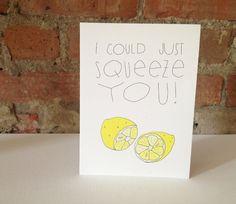 Lemon . Thank You Card . Stationary . Kraft Envelope. $5.00, via Etsy.