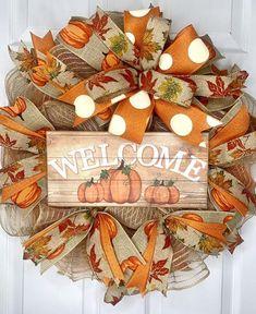Fall Welcome Storm Door Wreath Fall Welcome Screen Door Wreath Fall Pumpkin Wreath Pumpkin Wreath Pumpkin Decor Fall Mesh Wreath office decor Fall Mesh Wreaths, Fall Deco Mesh, Diy Fall Wreath, Wreath Crafts, Holiday Wreaths, Door Wreaths, Wreath Ideas, Burlap Wreath, Rag Wreaths