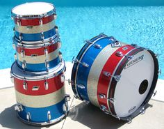 1976 Ludwig Bicentennial, still finished nicely in its original red, silver, and blue sparkle. Ludwig Drums, Vintage Drums, Blue Pictures, Blue Sparkles, Drum Kits, Great Memories, Percussion, Red White Blue