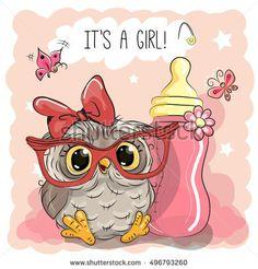 Cute Cartoon Owl girl with feeding bottle
