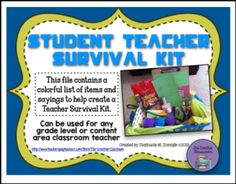 """FREE LESSON – """"Student Teacher Survival Kit"""" - Go to The Best of Teacher Entrepreneurs for this and hundreds of free lessons. Pre-Kindergarten - 12th Grade  #FreeLesson   #BacktoSchool   http://thebestofteacherentrepreneursmarketingcooperative.net/free-misc-lesson-student-teacher-survival-kit/"""