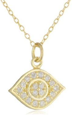 """18k Gold Plated Sterling Silver Cubic Zirconia Small Eye Pendant Necklace, 18"""" Amazon Curated Collection. Save 45 Off!. $19.00. Made in Thailand"""