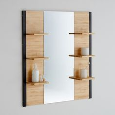 Hiba Solid Pine and Metal Bathroom Mirror La Redoute Interieurs Hiba solid pine and metal bathroom mirror. With a contemporary industrial look this bathroom mirror is a very practical choice with 6 mini shelves for. Bathroom Mirror Cabinet, Mirror Cabinets, Bathroom Shelves, Bathroom Storage, Storage Mirror, Bathroom Design Small, Modern Bathroom, Home Decor Furniture, Bathroom Furniture