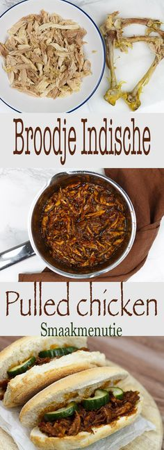 Broodje Indische pulled chicken #recept #recipe #sandwich #chicken #lunch