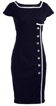 Navy Blue Sailor Nautical Pinup Rockabilly Vintage Retro Pencil Dress - paging Mad Men Joan, though I'm not sure about the horizontal accent at boob level. Retro Vintage Dresses, Mode Vintage, Vintage Outfits, Vintage Fashion, Retro Dress, Vintage Style, Retro Style, Retro Fashion, Pin Up Dresses