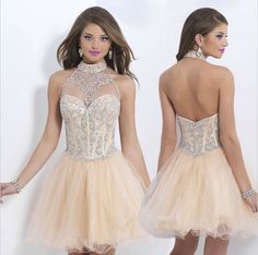 Sexy Open Back Sequin Sparkly Quinceanera Dresses Sleeveless High Collar Tulle Mini Home Coming Dress