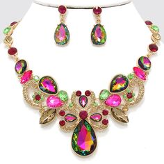 "Multi Colored Rhinestone Earring set • Color : Vitrail, Gold, Pink, Green • Necklace Size : 15"" + 3"" L • Charm Size : 2"" L • Earring Size : 1 1/4"" L • Glass Stone / Crystal Pave • Fantastical Teardrop Evening Necklace • Material : Lead compliant • Crystal Rhinestone Teardrop Evening Necklace COMES IN OTHER BEAUTIFUL COLORS AS WELL"