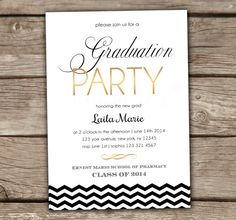 15 best graduation party invitation wording ideas party graduation party invitations printed printable summer college high school kindergarten preschool gold black white new grad chevron 082 filmwisefo