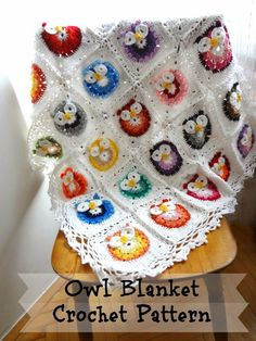 Crochet Patterns Free Baby Owl Granny Squares 28 New Ideas Crochet Owl Blanket Pattern, Crochet Bobble, Owl Crochet Patterns, Owl Patterns, Baby Blanket Crochet, Diy Crochet, Crochet Baby, Crochet Hearts, Crochet Birds