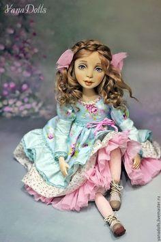 Art doll Adele - blue, handmade doll, doll, doll as a gift, doll interior