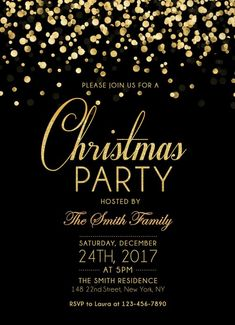 Christmas Party Invitation, Holiday Party Invites, Christmas party invites, Gold Christmas Invitation, Gold glitter black and gold printable - hashtags} - ideen hochzeit Christmas Party Themes, Christmas Flyer, Christmas Poster, Christmas Banners, Holiday Parties, Christmas Cards, Christmas Trees, Christmas Invitation Card, Christmas Party Invitations