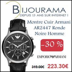 #missbonreduction; 30 % de réduction sur la Montre Cuir Armani AR2447 Ronde Noire Homme chez Bijourama. http://www.miss-bon-reduction.fr//details-bon-reduction-Bijourama-i851979-c1830114.html