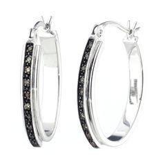 Vir Jewels Sterling Silver Champagne Diamond Hoop Earrings (1/10 CT) * Check out…