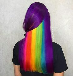 Rainbow hair color highlight & pictures you can see now . Cute Hair Colors, Pretty Hair Color, Hair Dye Colors, Rainbow Hair Colors, Dye My Hair, Crazy Hair, Purple Hair, Ombre Hair, Hair Designs