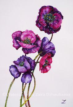 Purple Poppies, Watercolour painting by Zaira Dzhaubaeva   Artfinder