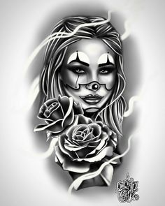 Cholos Cholas Calaveras Marihuana Catrinas Charras Payasa Payasos Azteca Art Skull Rose Tattoos, Skull Girl Tattoo, Girl Face Tattoo, Clown Tattoo, Girl Arm Tattoos, Dope Tattoos, Leg Tattoos, Body Art Tattoos, Sleeve Tattoos