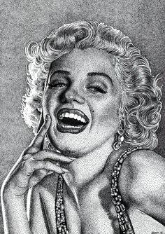 marilyn monroe - Pen / India ink on bristol paper [stiple drawing] by NaimNoam on deviantART | This image first pinned to Marilyn Monroe Art board, here: http://pinterest.com/fairbanksgrafix/marilyn-monroe-art/ || #Art #MarilynMonroe