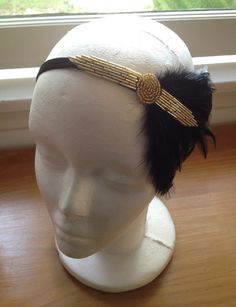 Fall Autumn Headbands Great Gatsby  Bridal 1920s Headbands HairPieces Fall Weddings Gold Beaded Feather Headbands and Headpieces