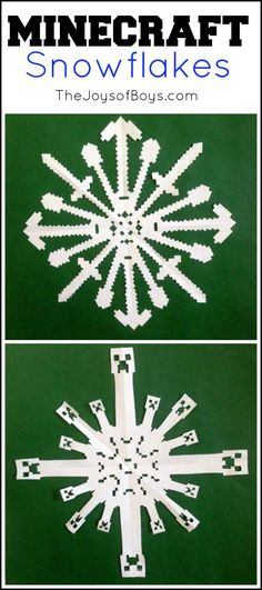 If your boys are like mine, Minecraft is one of the only things they talk about. It is a HUGE deal in our house so naturally Minecraft Snowflakes would be a big hit. Minecraft Snowflakes You know, I have a confession to make. Star Wars Snowflakes, Frozen Snowflake, Paper Snowflakes, Minecraft Diy, Minecraft Christmas, Minecraft Stuff, Minecraft Quilt, Holiday Crafts, Holiday Fun
