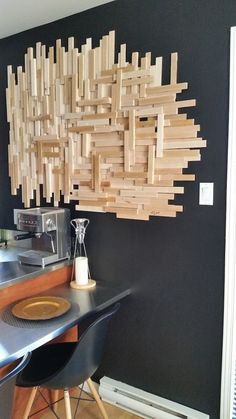 DIY Wall art with kindling (wood pieces) Metal Tree Wall Art, Diy Wall Art, Diy Wall Decor, Wood Wall Art, Diy Artwork, Art Diy, Room Decor, Diy Wooden Wall, Wooden Art