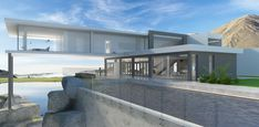 3D house with cliff-side pool, spacefiller concept