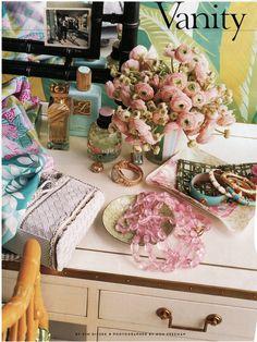 vanity and pink flowers