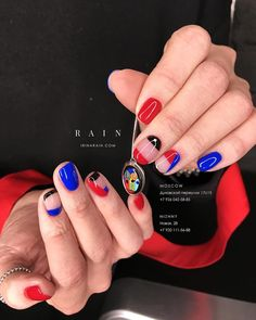 Red black cobalt blue nails