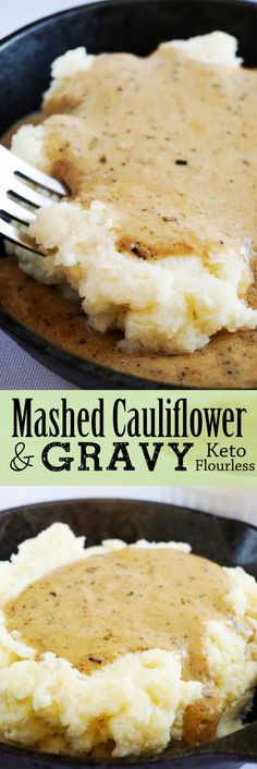 Cauli mash & GRAVY! I already have a go-to recipe for whipped cauliflower, but why haven't I ever considered making GRAVY for it before??! Yummm.