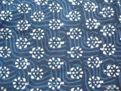 Floral Block Print Vegetable Indigo Dye Indian by theDelhiStore, $12.00