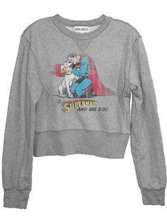 Superman With His Dog Distressed Pop Art Cropped Womans Fleece Sweatshirt
