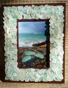 Sea Glass Frame - Glowing White and SeaFoam Hawaii Sea Glass - Beach Decor