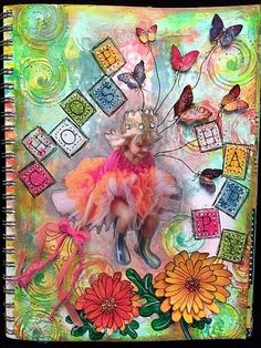 """""""Choose Happy"""" Art Journal Page Mixed Media Journal, Mixed Media Collage, Collage Art, Collages, Art Journal Pages, Art Journals, Magazine Collage, Magazine Images, Easy Art Projects"""