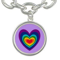 Colorful Rainbow Heart Art Charm #hearts #charms #love #rainbows And www.zazzle.com/inspirationrocks*