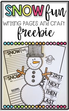 Snow Writing Pages and Snowman Craft for Snow Day or any Snow FUN! Kindergarten Activities, Writing Activities, Winter Activities, Kindergarten Writing, Kindergarten Classroom, Teaching Resources, Teaching Ideas, Snow Crafts, Writing Lessons