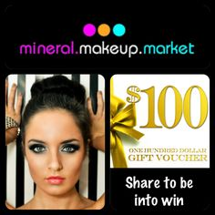 Be into win $100.00 voucher when you Repin this picture.   Also share on Facebook, Twitter or Sign up to our mailing list.   It's so easy, getting pinning!  www.mineralmakeupmarket.com Gift Vouchers, The 100, Good Things, Sign, Colour, Facebook, Twitter, Easy, Pictures