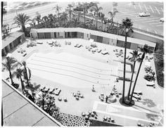 A 7th floor birds-eye view of the Beverly Hilton Pool upon its opening in 1955.