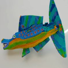 Whimsical Colorful Fish Art  Handmade Funky Fish Art  by FISHeFISH, $44.00