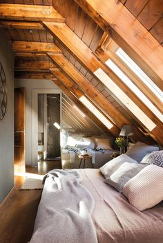 26 Rustic Bedroom Design and Decor Ideas for a Cozy and Comfy Space - The Trending House Comfy Bedroom, Bedroom Loft, A Frame Bedroom, Ikea Bedroom, Bedroom Furniture, Skylight Bedroom, Furniture Ideas, Bedroom Decor, Small Attics