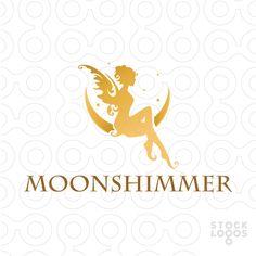 Logo Sold: Beautiful stylized rendering of a delicate fairy woman resting on a solar eclipse moon Unique Logo, Cool Logo, Peacock Logo, Fantasy Logo, Draw Logo, Lotus Logo, Logo Samples, Butterfly Logo, Wings Logo