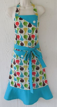 Cute Apples Pears Apron  Retro Full Apron Vintage by KitschNStyle