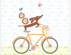 Doxie and Owls Ride a Bicycle Dachshund -- How adorable would this be in a nursery or kid's room?!