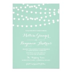 White Fairy Lights | Mint Wedding Invitation